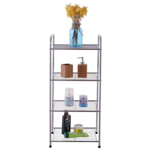 4 Tiers Home Bathroom Shelf Storage Unit Free Standing Steel