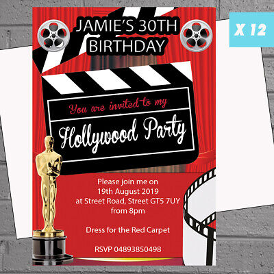 Hollywood Themed Birthday Invitations (12 x Hollywood Oscars Themed Birthday Personalised Party Invitations |)