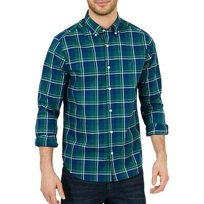 NAUTICA Men's Tidal Green Classic Fit Stretch Plaid Button-Front Shirt 3XL TEDO