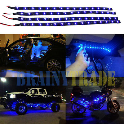 4pcs Car Motors Truck Flexible LED Strip Lights 12V Waterproof  30CM/15 Blue (Motor Light Truck)