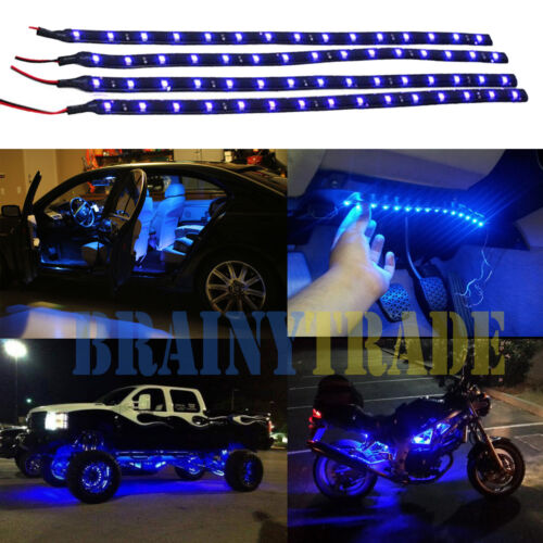 Car Parts - 4pcs Car Motors Truck Flexible LED Strip Lights 12V Waterproof  30CM/15 Blue LED