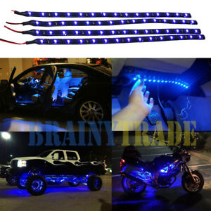 Led lights 12v blue ebay 4pcs car motors truck flexible led strip lights 12v waterproof 30cm15 blue led mozeypictures Images
