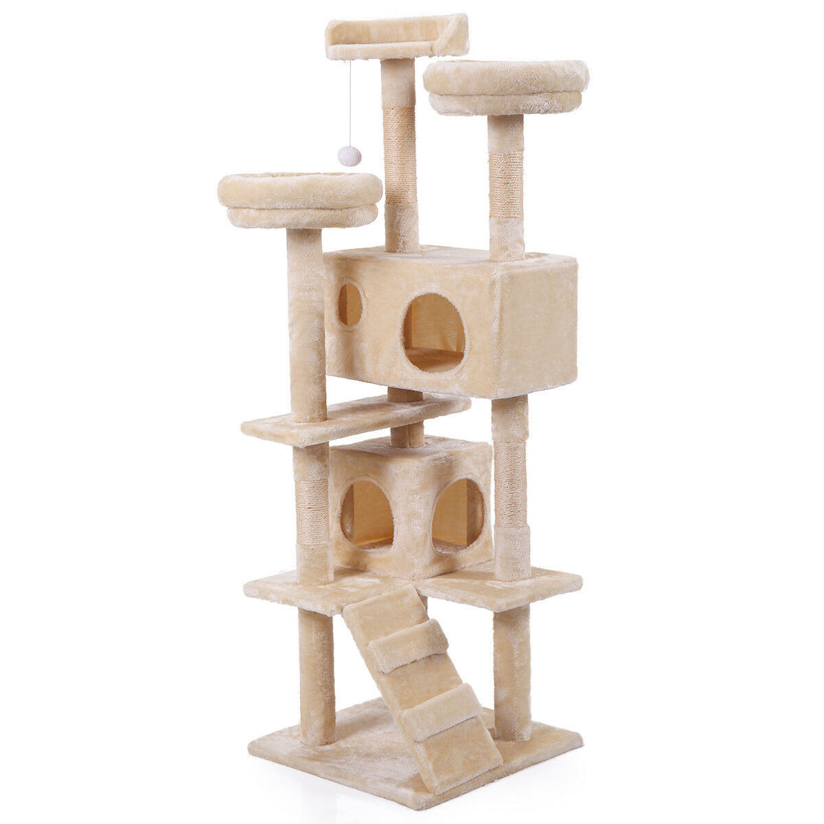 "60"" Cat Tree Tower Condo Furniture Scratching Post Pet Kitty Play House Beige"