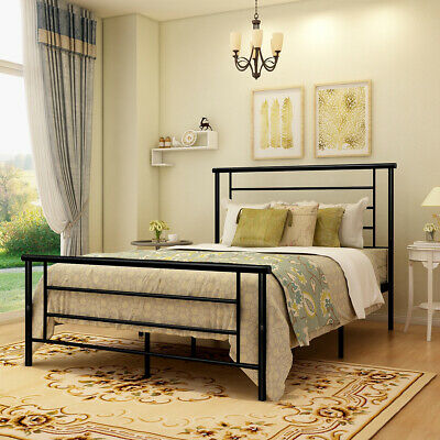 Metal Bed Frame Queen Full Twin Size Beds Platform Foundation Headboard Black