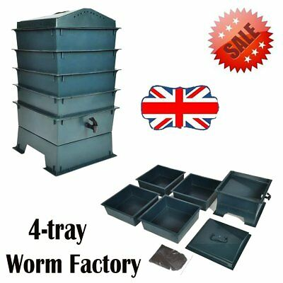 4-Tray Garden Worm Factory Composter Compost Box Waste Bin Farm Kit Wormery Food