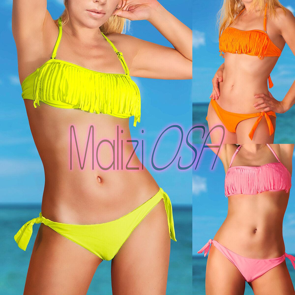 785157ae55ed Bikini costume bagno fascia FRANGE due pezzi moda mare donna Fluo swimwear.