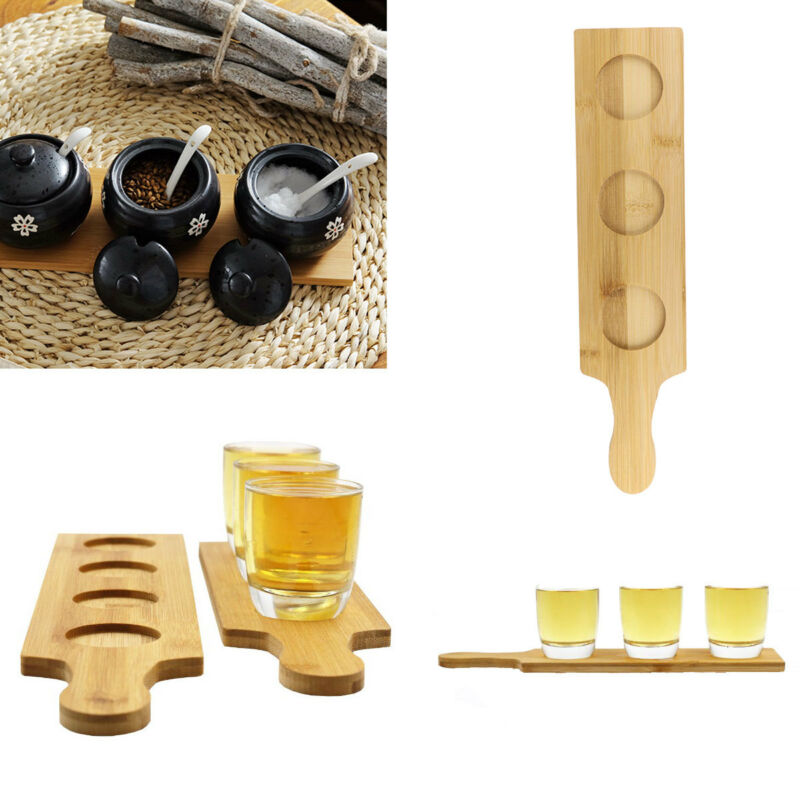 1pc Wooden Wine Glass Cup Holder Tray Beer Tasting Flight Paddle