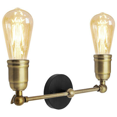 Modern Vintage Industrial Antique Brass Adjustable Double Arm Wall Light M0037
