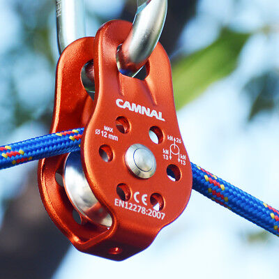 Rock Tree Climbing Pulley Arborist Rope Rigging Block Equipment Tool Orange 26KN