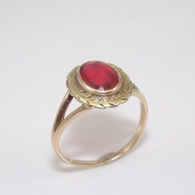 Vintage 10K Yellow Gold Red Paste Stone Ring Size 5 GGE ()