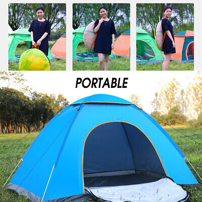 Blue Auto Pop Up Quick Camping Tent 2 Person Waterproof Inst