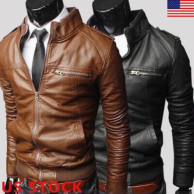 Mens PU Leather Jacket Slim Fit Biker Motorcycle Warm Coat Outwear Casual Tops Lightweight Leather Motorcycle Jackets