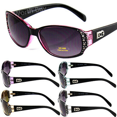 New Womens Rhinestones Oval Wrap Sunglasses Designer Fashion Shades Small (Womens Fashion Sunglasses)