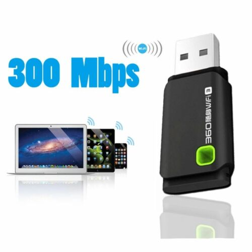 WiFi Wireless 300mbps USB Adapter Dongle For Laptop PC MAC Win XP 7 8 10