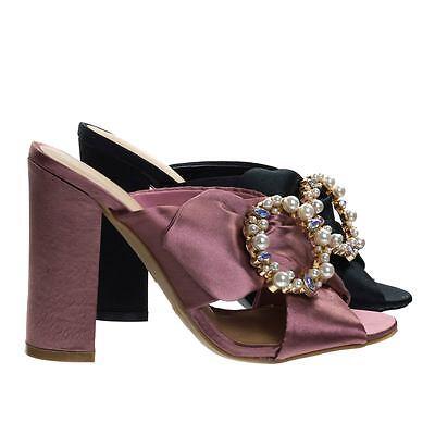 Encounter92 Satin Baroque Block Heel Mule Sandal w Embellished Crystal & Pearl