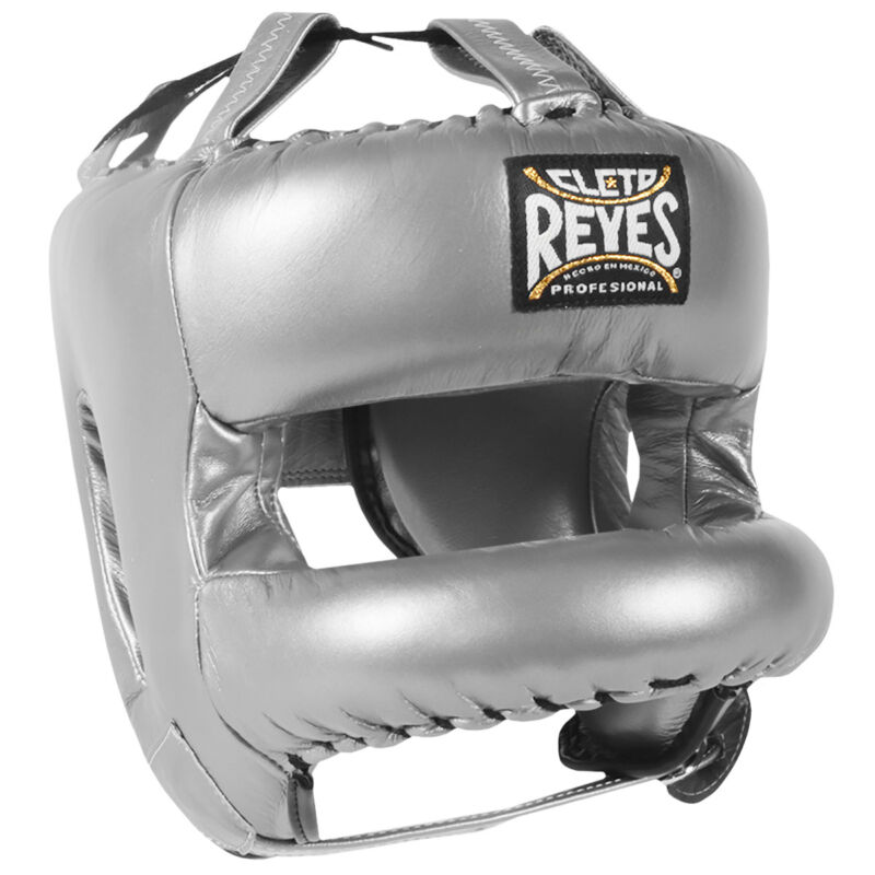 Cleto Reyes Redesigned Leather Boxing Headgear with Nylon Face Bar - Silver