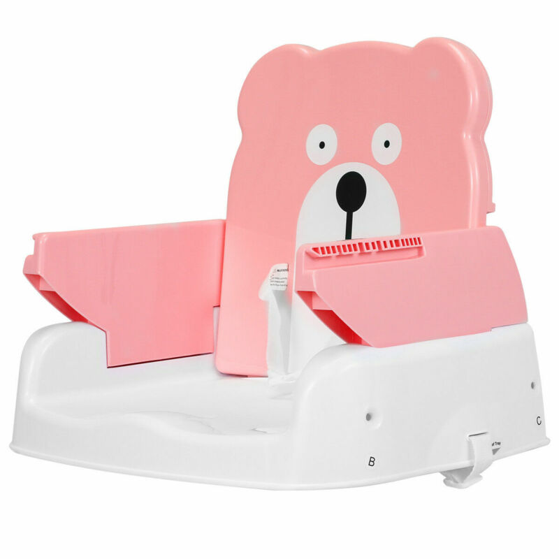 Portable Folding Booster Seat Toddler Chair Adjustable Height Safety Belt Pink