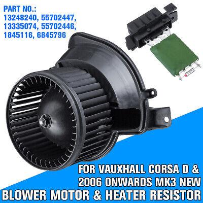 HEATER BLOWER MOTOR FAN & RESISTOR FOR VAUXHALL OPEL CORSA D 55702447 55702446