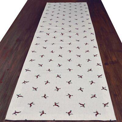 Tischläufer rustikale Tischdecke Knut rot natur 160 x 40 cm mit Hirsch-Motiv