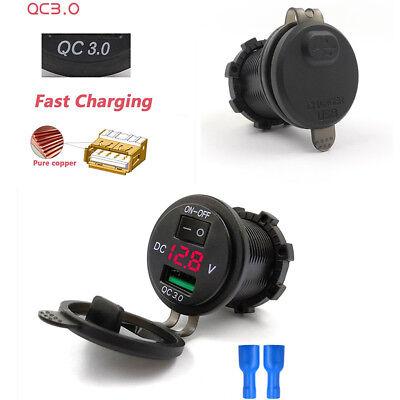 USB 3.0 Schnell Ladegerät Buchse Rot LED Voltmeter mit Schalter für Auto Marine F55 Marine