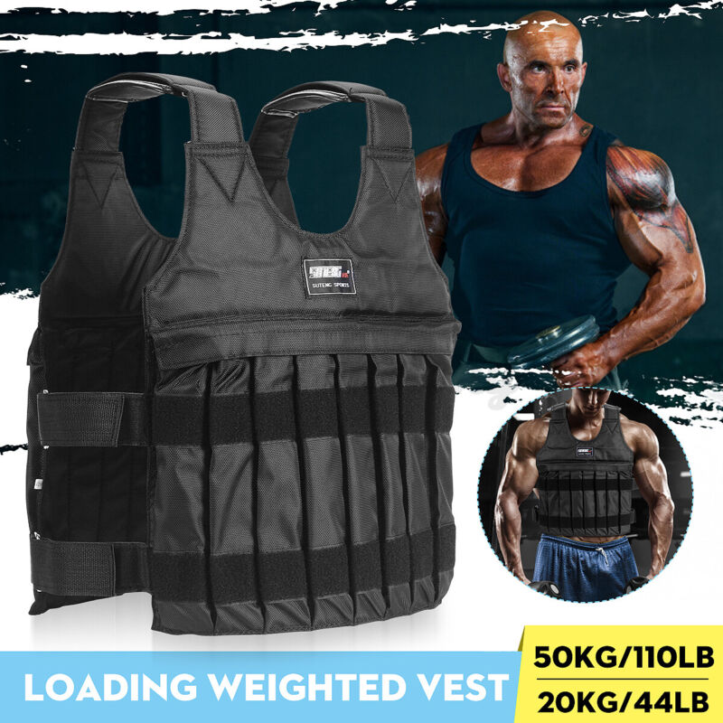 110lbs Workout Weighted Jacket Vest Running Exercise Strength Fitness Training
