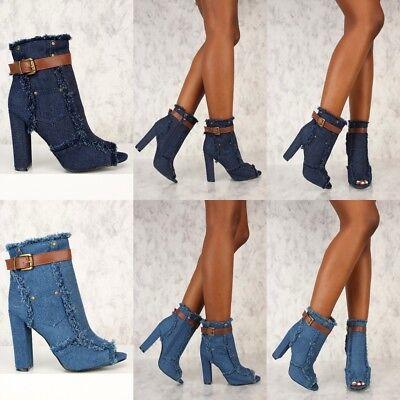 Women's Denim Look ankle boot Peep Toe High Chunky Heels Booties Platform -