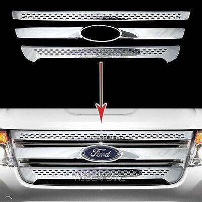 2011-2015 Ford Explorer CHROME Grille Overlay Full Front 3 Grill Bar Trim Covers 3 Piece Chrome Bar