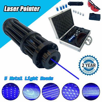 High Power Blue Laser Pointer 450nm Beam Visible Light W 4pcs Batteries Box