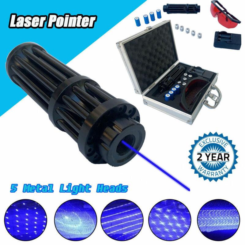 High Power Blue Laser Pointer 450nm Beam Visible Light W/ 4pcs Batteries + Box