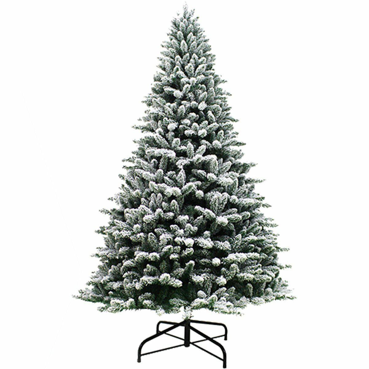 7ft Premium Snow Flocked Hinged Artificial Christmas Tree Unlit w/ Metal Stand Christmas Trees