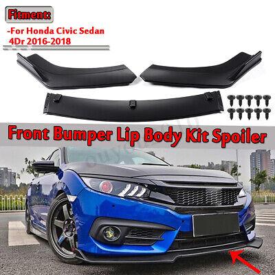 For 2016-2019 Honda Civic Hatchback 3PCS Front Bumper Lip Body Kit Spoiler Wing Civic Hatchback Body Kits