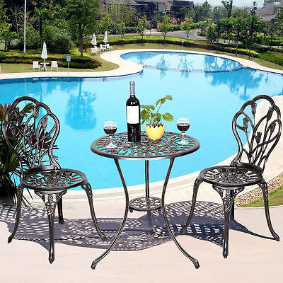 Wrought Iron Patio Set Bistro Steppe And Chairs 3 Pieces Outdoor Garden Furniture