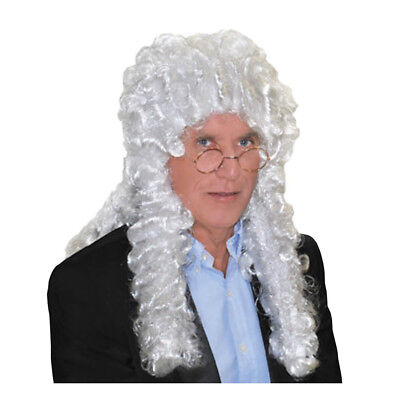 White Judge Wig Courtroom Aaron Judge Chambers Fan Costume Barrister Court Adult