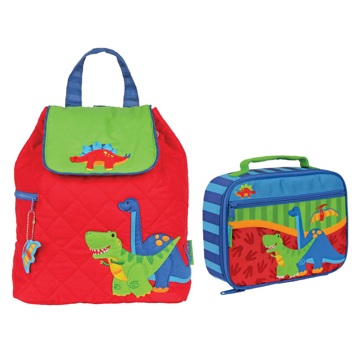 Stephen Joseph Boys Quilted Dinosaur Backpack and Lunch Box
