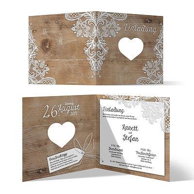 Lasergeschnittene Hochzeit Einladungskarten - Rustikal mit weißer Spitze
