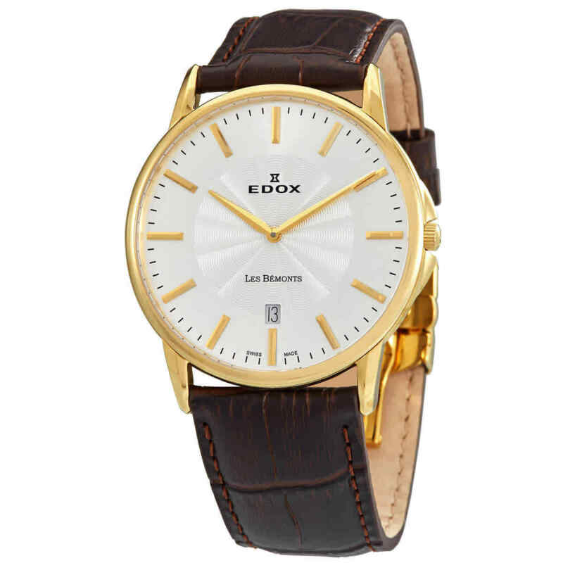 Edox Les Bemonts Silver Dial Men Leather Watch 56001 37J AID