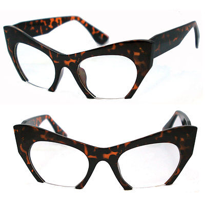 Runway Avantgarde Abgeschnitten Exposed Linse Cat Eye Optische Brille