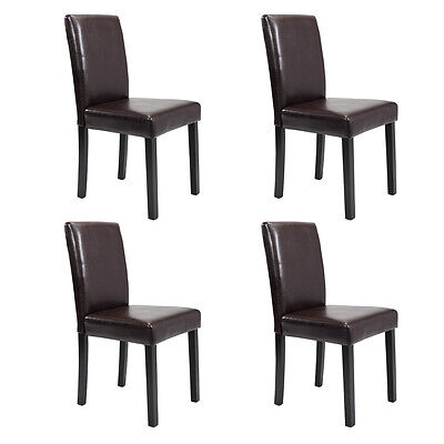 Set of 2/4/6/8/10 pcs Leather Elegant Design Dining Chairs Home  Black/Brown 4 Brown Leather Chairs
