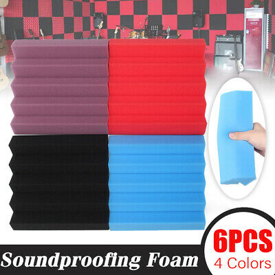 6Pack Acoustic Foam Soundproofing  Wedge Tiles Panel Sound Absorption