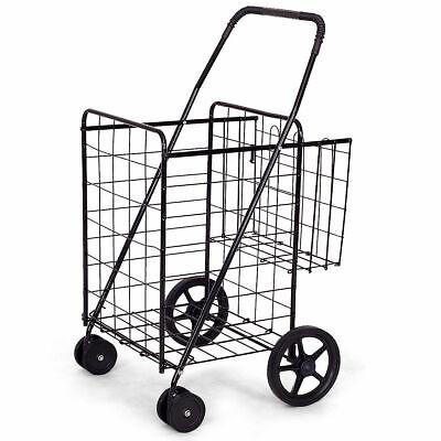 Folding Shopping Cart Jumbo Basket Grocery Laundry Travel Wswivel Wheels Black