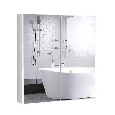 Bathroom Cabinet Medicine Cabinet Wall Mount Double Door with Shelf and (Bathroom Wall Cabinet With Mirrored Door And Shelves)