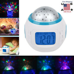 Sky Star Night Light Projector Lamp Bedroom Alarm Clock With Music Baby Kid Gift