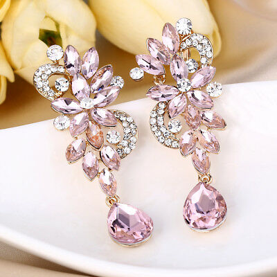 Bridal Drop Clip-on Earrings Pink Austrian Crystal Gold Plated Bridesmaid Women