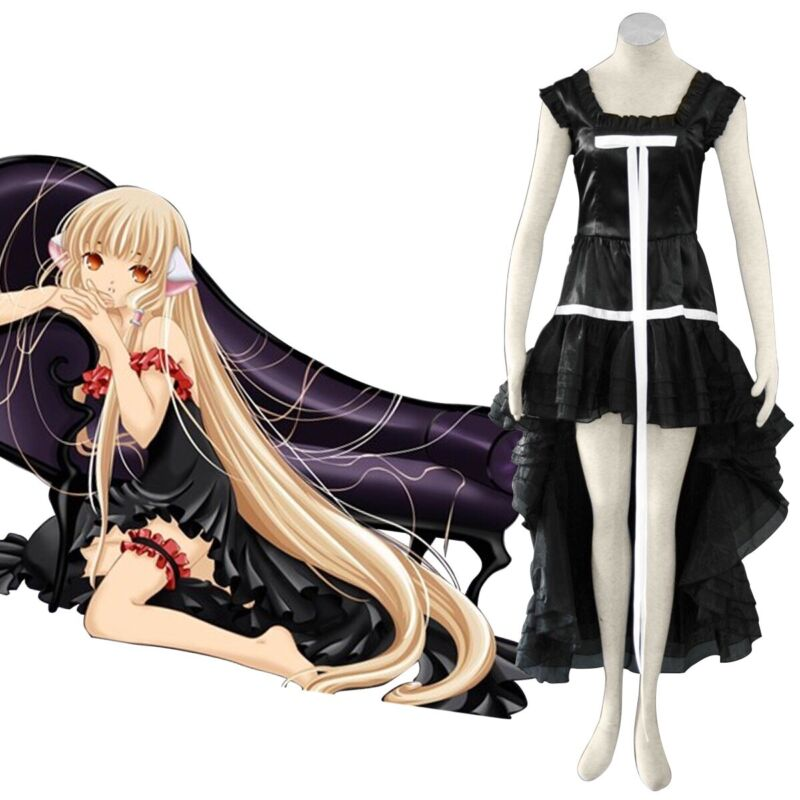 Anime CHOBITS Chii Gothic Lolita Black Dress Cosplay Version 1 Small