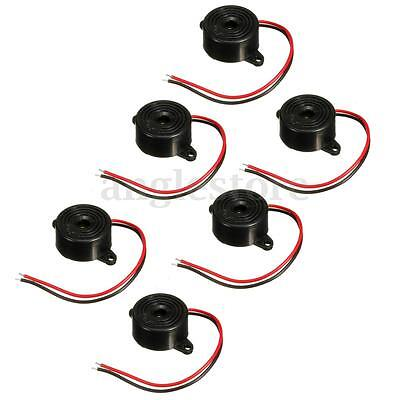 6pcs Piezo Electronic Tone Buzzer Continuous Beep Alarm 3-24v With Mounting Hole