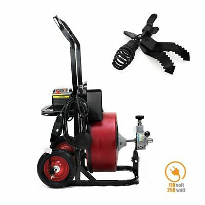 50ft 12 Drain Cleaner Sewer Snake Drain Auger Cleaner 4 Cutter Foot Switch