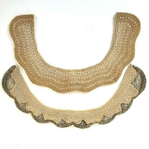 2 Vintage Beaded Satin Collars Pearl Beads 40