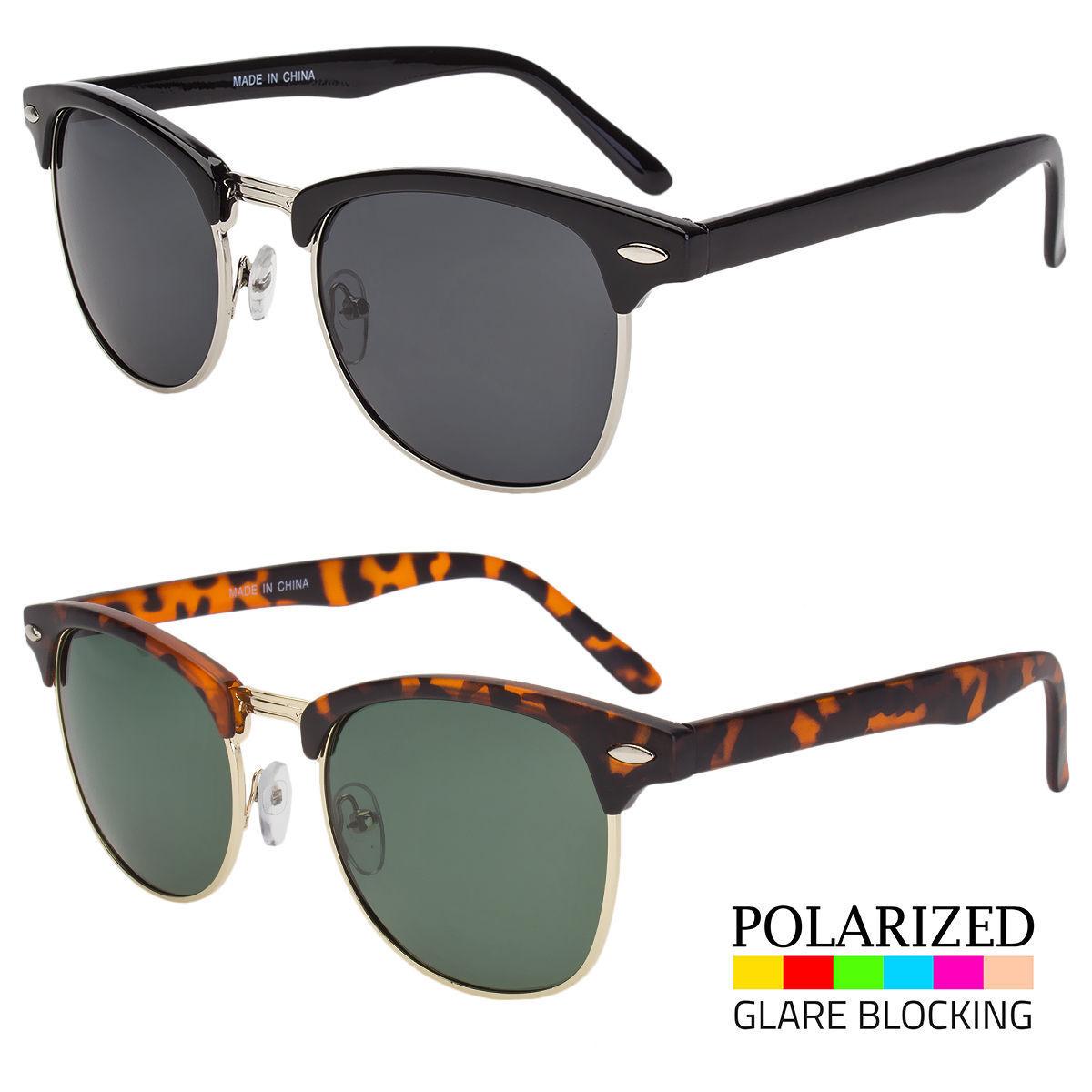 Polarized Retro Sunglasses Mens Womens Vintage Designer Metal Half Frame