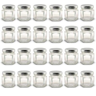 1.5 oz Hexagon Mini Glass Jars with Silver Lids and Labels Pack of 24