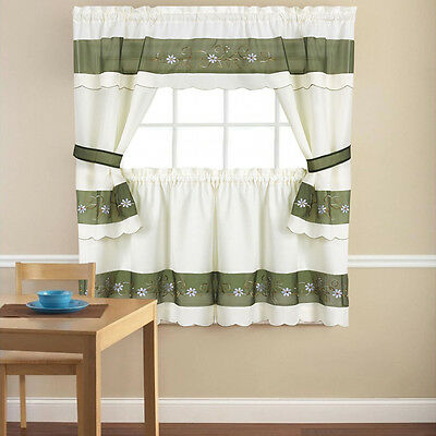 Embroidered Berkshire Floral 5 Piece Kitchen Curtain Cottage Set – 36″ or 24″ Curtains & Drapes